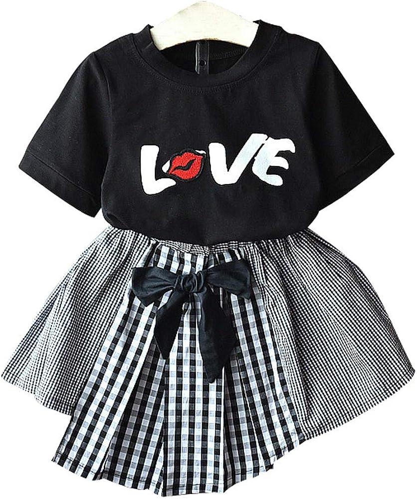 Fashion 2Pcs Kids Toddler Baby Girl Love T-Shirt Top Irregular Plaid Bow Skirt Girl's Summer Clothes Set 1-7T