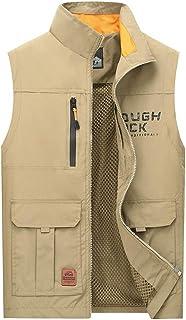 Men's vest Summer vest Thin Section Men's Outdoor vest Quick-Drying Breathable vest Multi-Pocket vest (Color : Khaki, Size : XXXL)