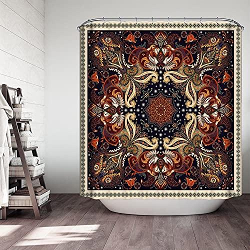 XCBN Mandala Duschvorhang, wasserdichtes Material, geeignet für Badezimmerdekoration, Retro-Stil A4 90x180cm