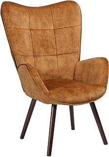 Mueble Cosy - Sillón Grande de Estilo escandinavo con un Revestimiento de Tejido marrón, reposabrazos Acolchados y Patas de Madera Maciza (Haya Oscuro), marrón y marrón Oscuro