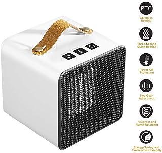 Calefactor Electrico Portatil, 800W Calentador de Espacio Termostato Ajustable y Protección Ventilador Eléctrico Cálido Invierno Cálido para Oficina Dormitorio Hogar (Blanco)