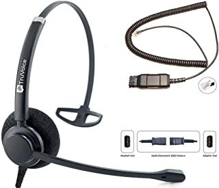 Professional HD-100 Single Ear Headset with Noise Canceling Microphone and HIS Cable for Avaya IP 1608, 1616, 9601, 9608, ...