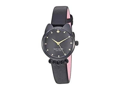 Kate Spade New York Cat Leather Watch KSW1616 (Black) Watches