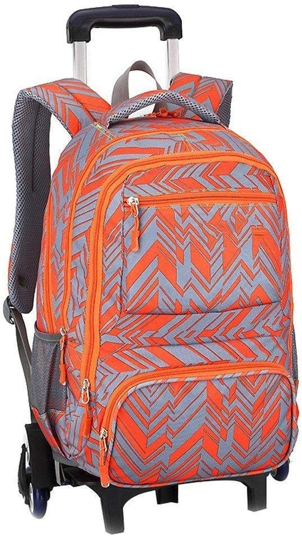 RMXMY Trolley Tasche groe Kapazitt Gymnasiasten Junior Gymnasiasten 3-4-5-6 Klasse 9 Jungen ziehen Hand ziehen (Farbe   Orange, gre   Six Rounds)