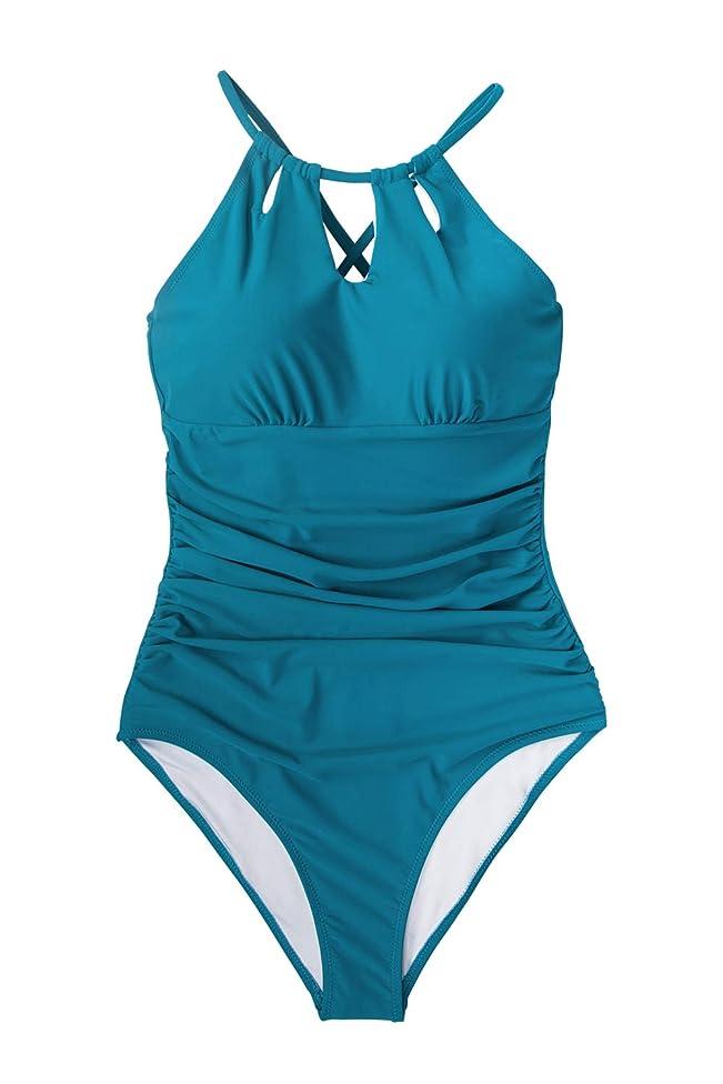 CUPSHE Women's Halter Lace Up Back One Piece Swimsuit Padded Crisscross Bikini
