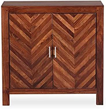 Strata Furniture Rosewood and Sheesham Wood Sideboard Storage Cabinet Table with 2 Shelves and Honey Finish for Living Room (