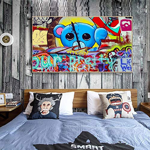 KWzEQ Graffiti cartoon animal street art canvas picture character wall picture kid room wall decoration 50X75cmFrameless painting