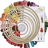 HAUSPROFI Stickerei Set Stickerei Starter kit Stickerei Kreuzstich Set Kreuzstich Tool Kit Einschließlich 50 Farbfäden und 30 Nadel, 7 Bambus Stickrahmen 4-12 Zoll,1 Kumihimo Disk,1...