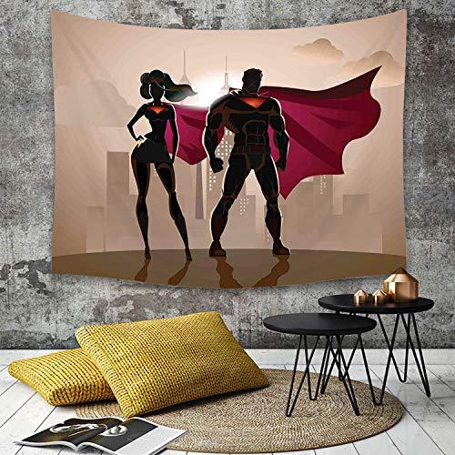 Yaoni Landschaft Tapisserie Dekoration für Schlafzimmer Wohnzimmer,Superheld, Superfrau Mann Helden in der Stadt Heißes Paar im Kostümmuster, Beigebraun Magenta,Strandtuch, Wanddekoration, Wandbehang