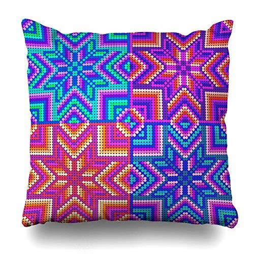 Funda de almohada decorativa, fundas de cojines para sofá, cama interior, de inspiración mexicana, arte huichol para elfunda de cojín para sofá, funda de almohada, regalo, cama,18 x 18 pulgadas