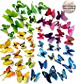 ElecMotive® 60 Pcs 5 Packs Beautiful 3D Butterfly Wall Decals Removable DIY Home Decorations Art Decor Wall Stickers & Murals for Babys Bedroom TV Background Living Room (Pack of 5 Color)