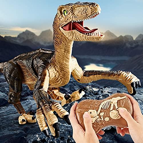 Bakermiche Dinosaurio de Control Remoto Juguete Eléctrico Juguetes de Dinosaurio Realistas Juguetes Animales Radiocontrol Dinosaurio eléctrico para Caminar Regalo de Juguete Robot para Niños Niñas