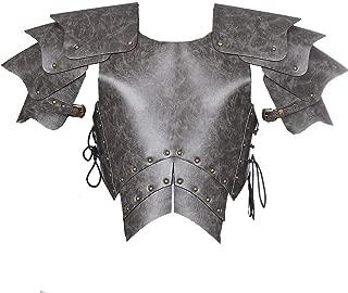 Adult Men's PU Leather Medieval Samurai Steampunk Armor Guard Cosplay Adjustable Grey