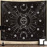 JAWSEU Tela Decorativa Estilo Hippie psicodélico Mandala Wall Hanging Tarot Tapestries Arte de Pared de Manta de Pared en Blanco y Negro para decoración de Dormitorio de Sala de Estar
