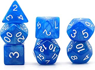 Polyhedral 7-Die Dice Set DND Pearl Glitter Dice for Dungeons and Dragons with Purple Dice Pouch (Blue)