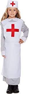 Girls WW1 Vintage War Nurse Florence Nightingale Fancy Dress Costume Outfit 4-12 Years (7-9 Years) White