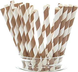 Brown Vintage Stripe Paper Straws - 25 Pack - Use As Cake Pop Stick, Drinking Straws or Cupcake Topper, Brown Striped Straws