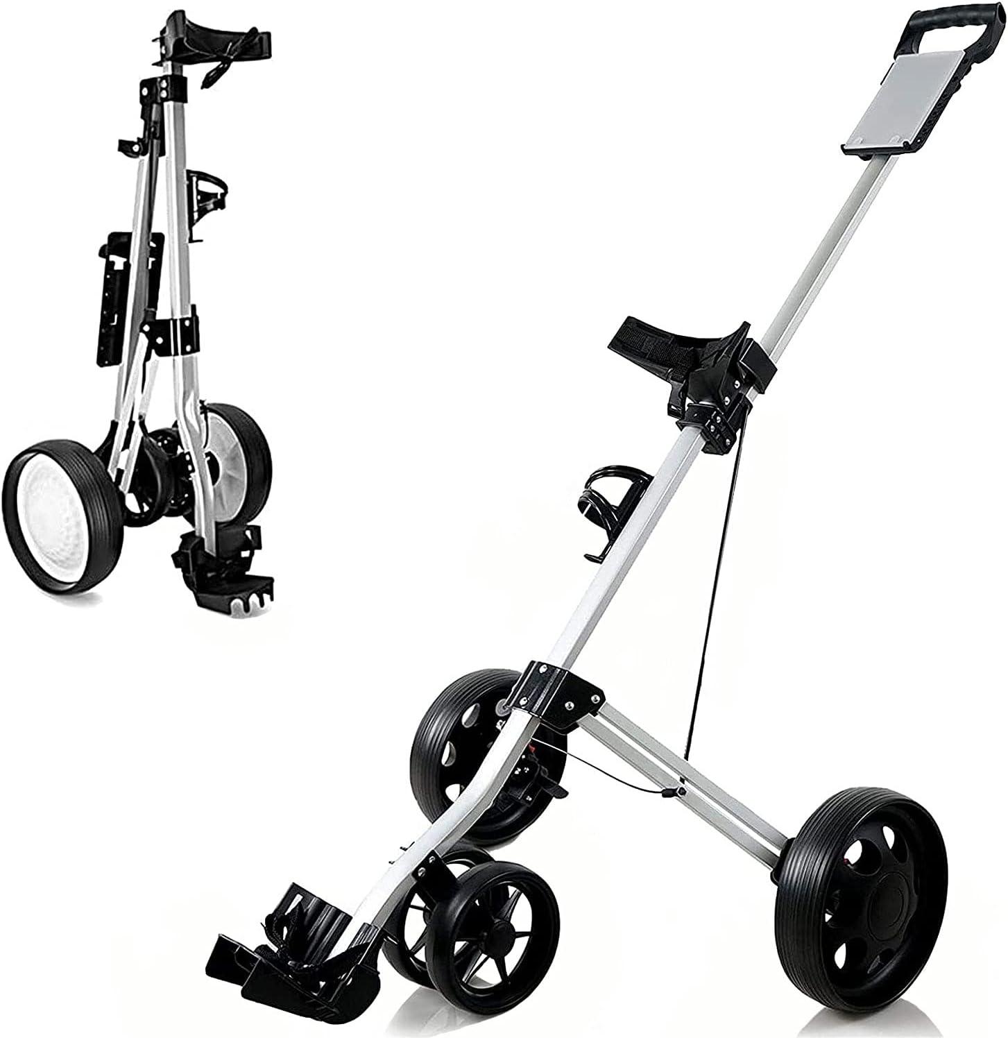 Golf Push Cart, 4 Wheel Golf Push Pull Cart with Cup Holder, Lig