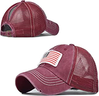 MPARTIDO High Ponytail Baseball Cap for Womens Adjustable Trucker Mesh Washed Hat for Men