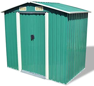 """Unfade Memory Outdoor Storage Shed Garden Sheds with Roof Metal (80.3""""x52""""x73.2"""", Green)"""