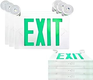 SPECTSUN LED Exit Sign Battery Backup,Green Exit Emergency Light with 2 Lamp Heads, 120V/277V Business Exit Sign White,Egress Sign Emergency Light - 6 Pack,Industrial/Building Exit Sign,Exit Sign Lens