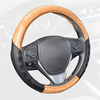 ACDelco Steering Wheel Cover – Light Wood Grain with Soft Black Microfiber Leather for Standard Wheel Sizes (14.5-15.5 inch)