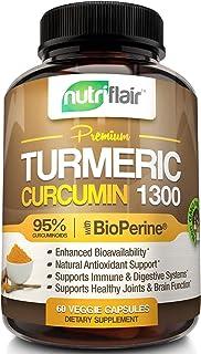 NutriFlair Premium Turmeric Curcumin Supplement (1300mg) with BioPerine Black Pepper (60 Capsules, 30 Day Supply) - Powerf...