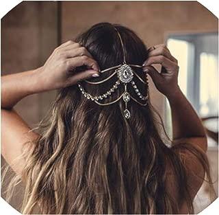 Stone Head Chain Crown Rhinestone Back Hold Headbands Headpiece Gold India Bridal Wedding,Gold Metal
