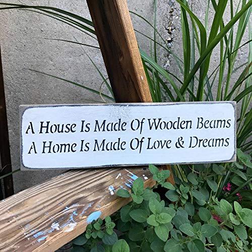 onbekend muur kunst houten huis teken, een huis is gemaakt van houten balken, houten teken zeggen, nieuw huisteken, huisopwarming geschenk, cadeau voor vriend, voordeur Decor hout plaque, op maat cadeau