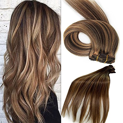 Extensions de cheveux Remy 100 % naturels - Extensions de cheveux à clips - Pour femme - 7 pièces par lot - 38 cm - 45 cm - 50 cm - 55 cm - Différentes couleurs