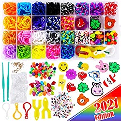 2200+ FunzBo Loom Rubber Bands for Bracelet - Colorful Jewelry Making Kit for Kids Craft and Art - Rainbow Band for Girls Age 5 6 7 8 9 Year Old (Middle)
