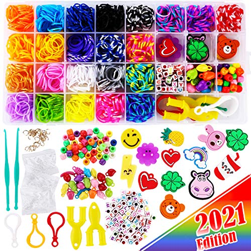 2200+ FunzBo Loom Rubber Bands for Bracelet - Colorful Jewelry Making Kit for Kids Craft and Art - Rainbow Band for Girls Age 5 6 7 8 9 Year Old(Middle)