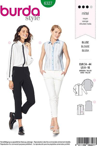 Burda 6327 - Patrón de costura para confeccionar blusa de ...