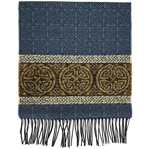 Detailed Woven Celtic Scarf made in Scotland, a collection based on traditional Celtic designs and patterns (Nordic Blue)