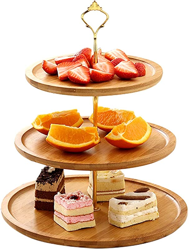 Widousy 3 Tier Cupcake Stand Bamboo Fruit Plate Cakes Desserts Fruits Snack Candy Buffet Display Tower For Wedding Home Birthday Tea Party Serving Platter