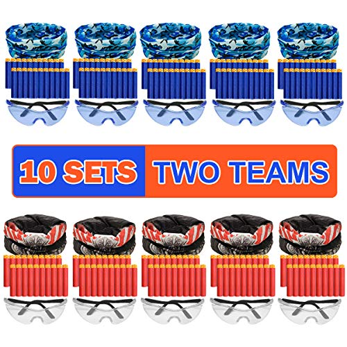 Nerf Party Supplies Compatible Included Face Mask Tactical Glasses 20 Foam Bullets for Two Teams Durable Birthday Party War Favors Guns Easter Basket Toy Gift for Boys Girls Toddlers