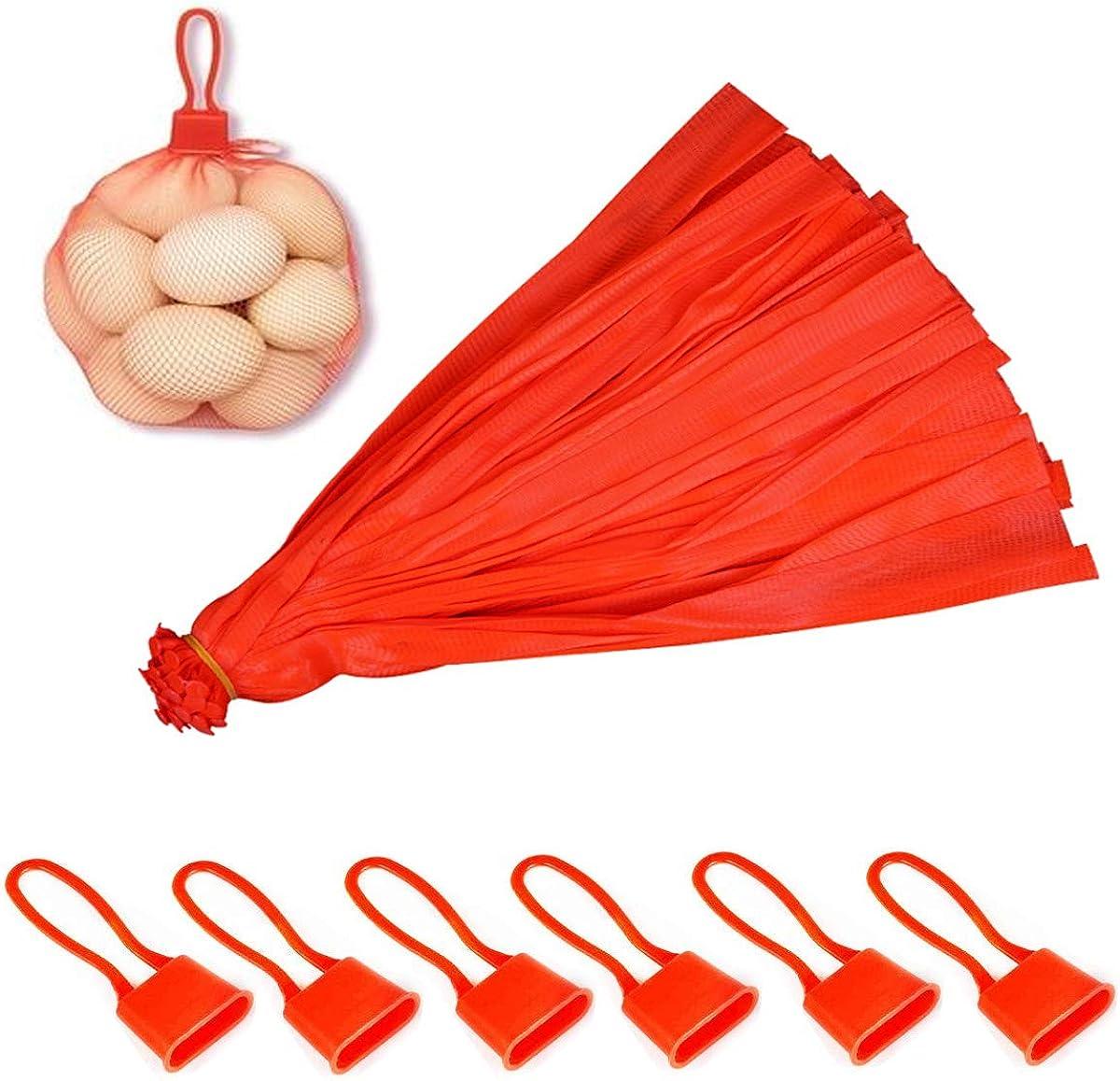 Naturezhen 200 Piezas Bolsa De Productos De Malla, Bolsa De Malla De Nylon Reutilizable, Con Hebilla De Red, Malla Para Frutas, Mariscos, Verduras Productos Agrícolas (15.8 Pulgadas Rojo)