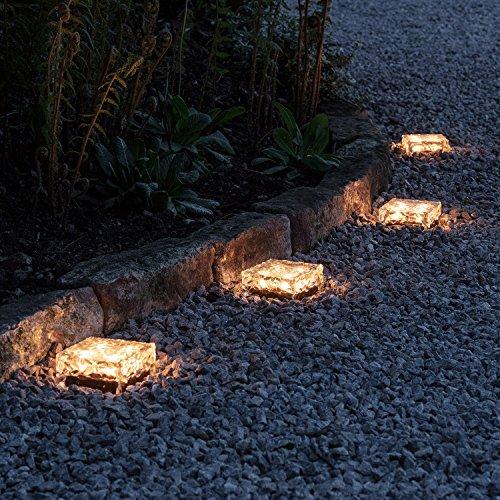 4er Set LED Solar Glas Pflastersteine Wegbeleuchtung warmweiß groß Lights4fun