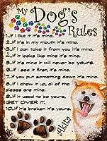 私の犬のルール 金属板ブリキ看板警告サイン注意サイン表示パネル情報サイン金属安全サイン