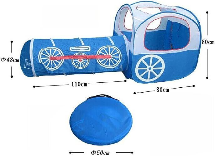 Train Enfants Intérieur Extérieur Jouer Tente avec Tunnel(moins de 3 ans, Bleu)