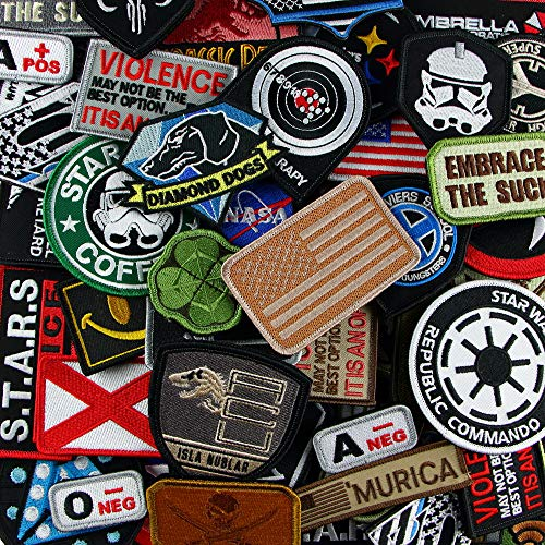 LiZMS Tactical Patch : 10 PCs Random Assorted Size and Styles Military Sport Car Motorcycle Biker Backpack Backing Movie Cartoon Rocker Flag - Hook and Loop Fasteners