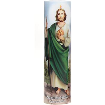 The Saints Collection St. Jude Flickering LED Prayer Candle with Automatic Timer, Prayer in English and Spanish, Religious Gift Ideas Mothers day, Fathers Day, Birthdays, or Any Holiday