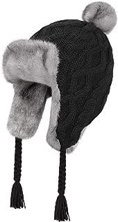 OMECHY Womens Knit Peruvian Beanie Hat Winter Warm Wool Crochet Tassel Peru Ski Hat Cap with Earflap Pom