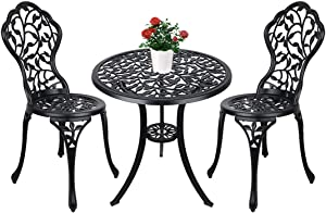 Vipush Patio Bistro Table Set,3 Piece Outdoor Rust-Resistant Cast Aluminum Table and Chairs for Porch,Lawn,Garden,Backyard,Black