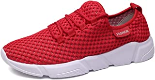 Shangruiqi Athletic Sneaker for Men Sport Shoes Lace up Mesh Low Top Breathable Round Toe Fashion Lightweigt Casual Anti-Wear (Color : Red, Size : 8.5 UK)