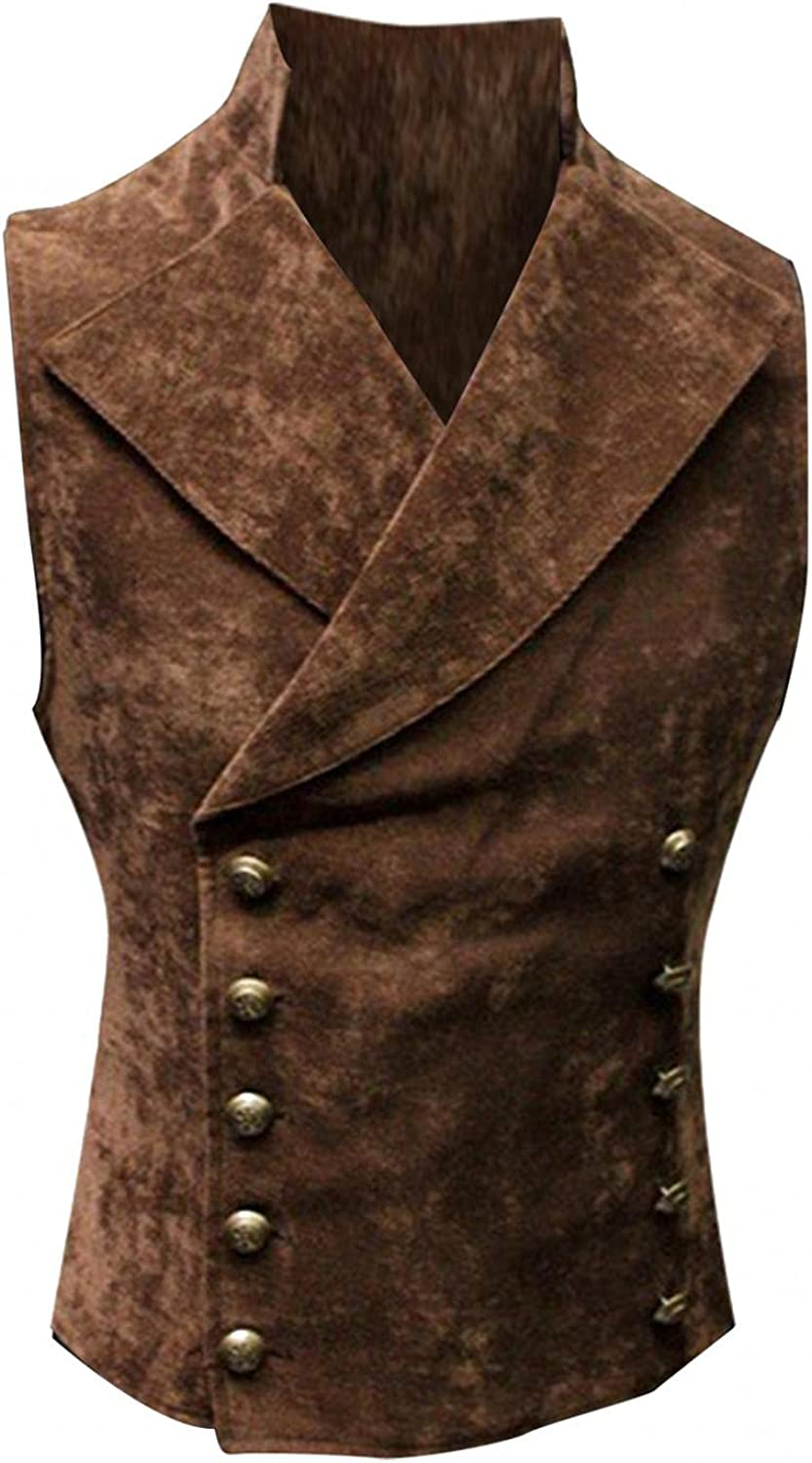 Men's Retro Vest Suit Coat Casual Slim Fit Western Cowboy Waistcoat with Button to wear with Dress Shirt