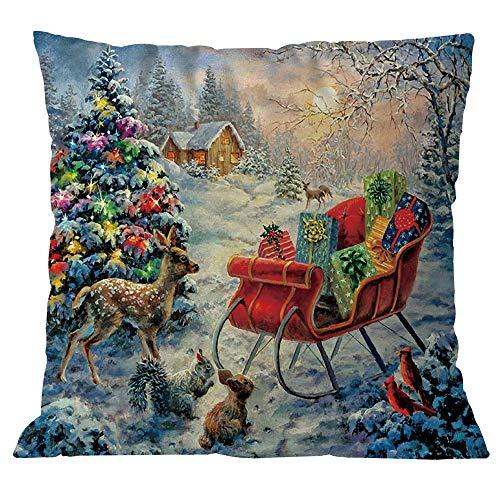 99native Taie d'oreiller décorative Style Noël,Court Peluche Coussin Fall rectangulaire Canapé Maison Auto décoratif taie d'oreiller Housse de Coussin (I)