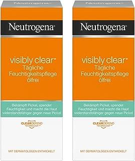 Neutrogena 露得清 Visibly Clear 每日保湿护理霜 不含油 面霜富含水杨酸针对白天,夜晚对皮肤进行护理 (2*50ml)