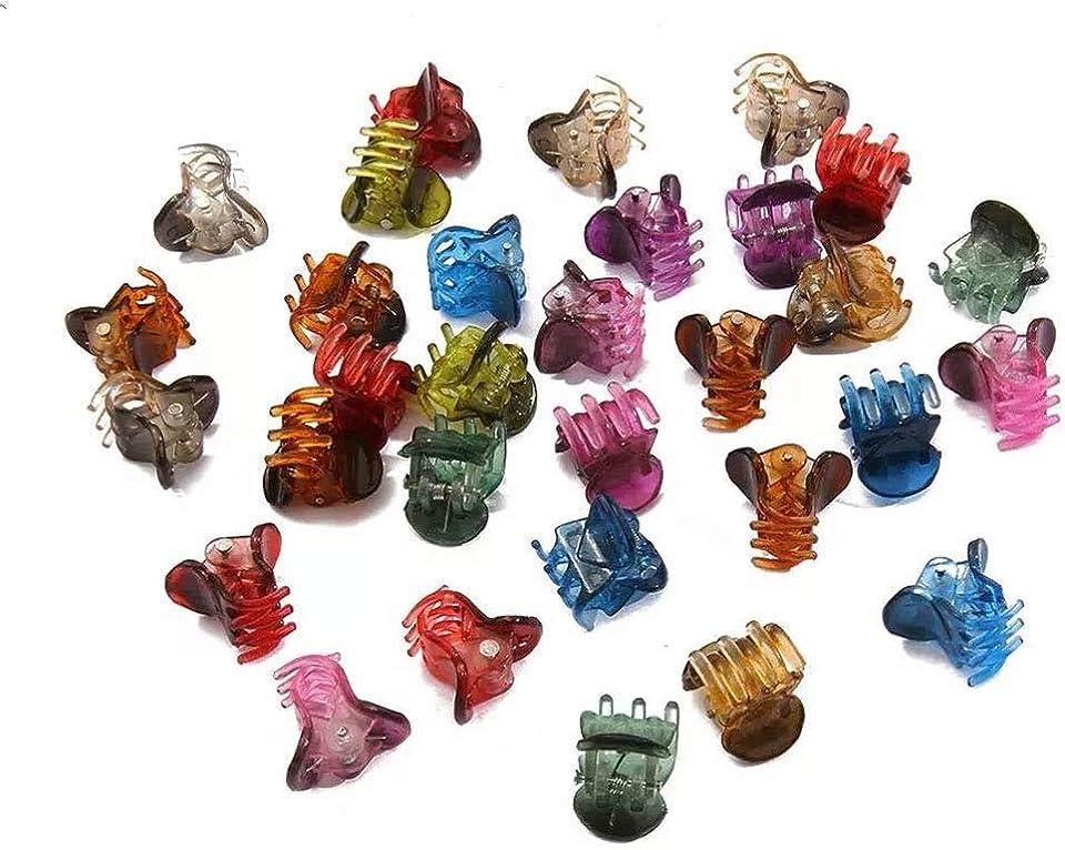 Kaimeilai 100pcs HaarklammernMini, Haarspangen mit Box, Hairdressing Kunststoff Haarspangen, Mini Haarspangen Kleine Hair Claw Clips für Mädchen Damen, Mini-Haarklammern aus Kunststoff (Mehrfarbig)
