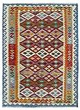 HAMID Alfombra Kilim Afgano - 100% Lana Tejida a Mano - Alfombra étnica de salón, Dormitorio, Comedor (175x133cm)